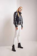 Легкая короткая молодежная женская куртка пуховик стеганая Веста черного цвета