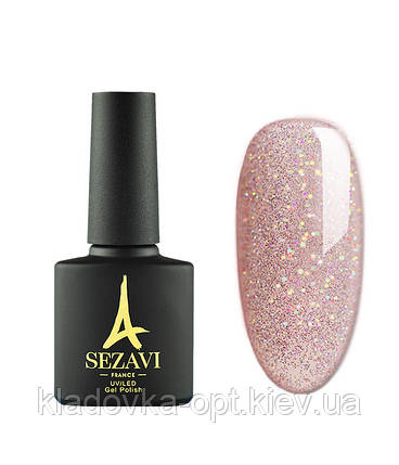 Гель-лак Sezavi Galaxy №6 (персиково-розовый, с блестками), 8мл, фото 2