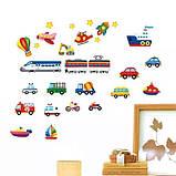 """Вінілова наклейка у ванну, на стіну , для дитячого садка , в дитячу кімнату """"Машинки"""" (v984), фото 3"""