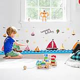 """Вінілова наклейка у ванну, на стіну , для дитячого садка , в дитячу кімнату """"Кораблики"""" (v4587), фото 3"""