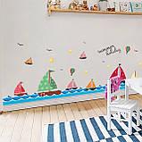 """Вінілова наклейка у ванну, на стіну , для дитячого садка , в дитячу кімнату """"Кораблики"""" (v4587), фото 4"""