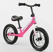"""Велобіг від """"CORSO"""" 63908 сталева рама, колесо 12"""" надувні колеса, рожевий"""