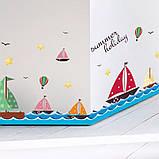 """Вінілова наклейка у ванну, на стіну , для дитячого садка , в дитячу кімнату """"Кораблики"""" (v4587), фото 6"""