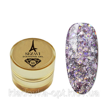 Жидкие блестки SEZAVI Diamond №11 (сиреневый), 5g , фото 2