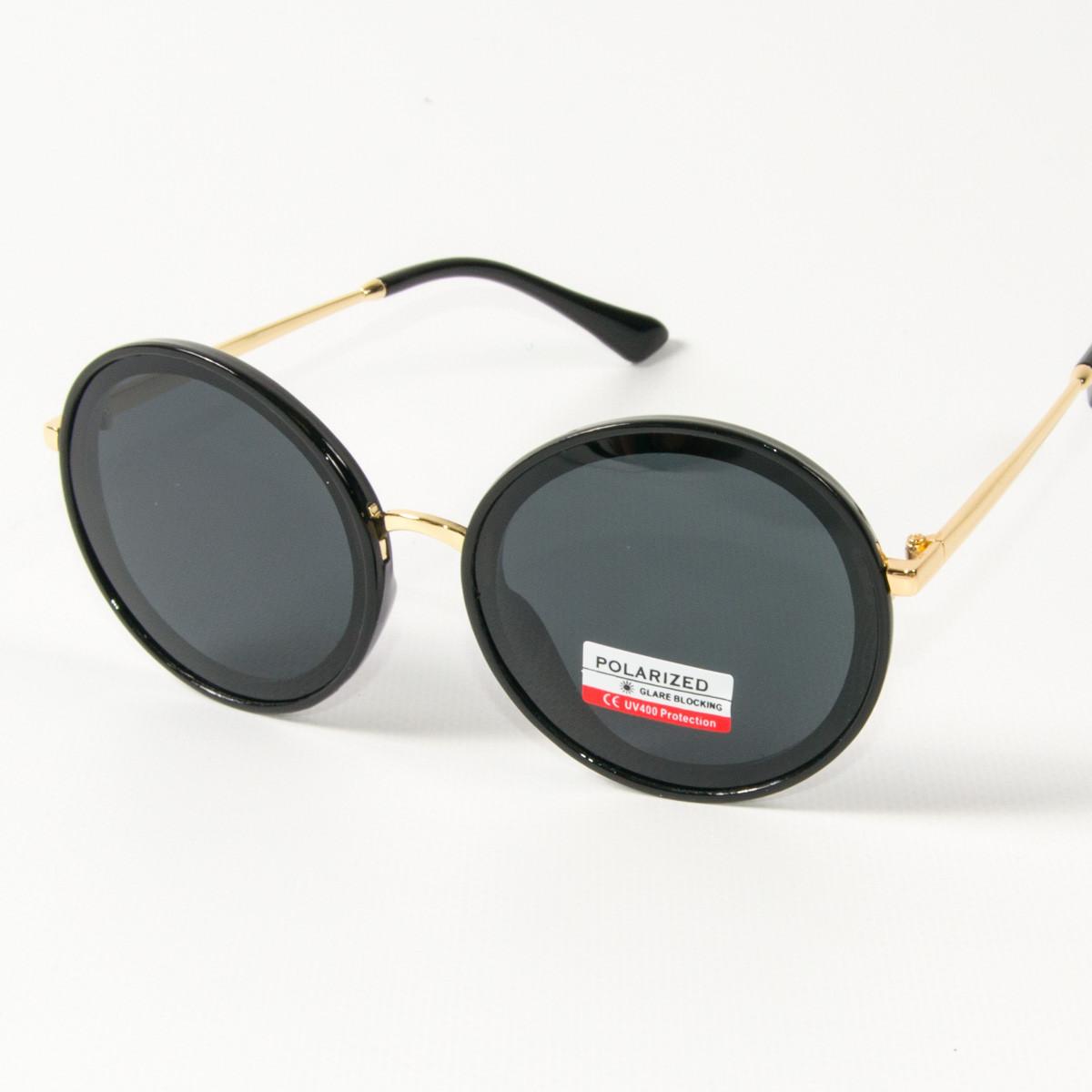 Оптом женские солнцезащитные поляризационные круглые очки  (арт. PCB77/2) черные