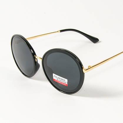 Оптом женские солнцезащитные поляризационные круглые очки  (арт. PCB77/2) черные, фото 3