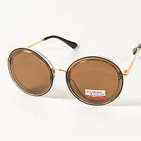 Женские солнцезащитные поляризационные круглые очки  (арт. PCB77/3) с прозрачной оправой