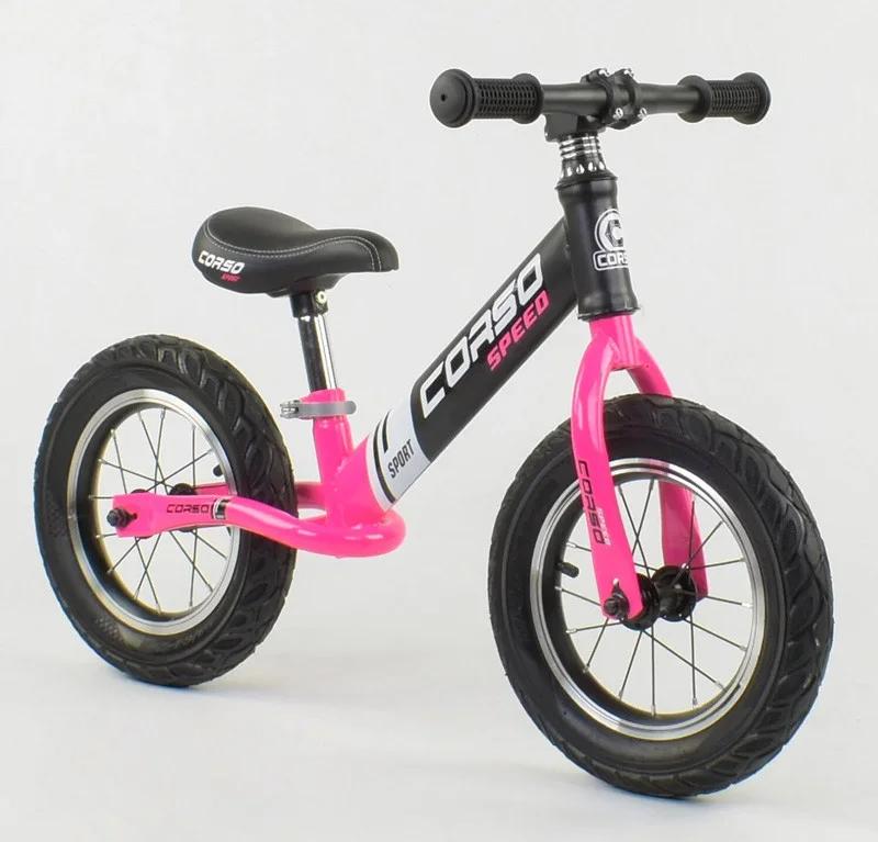 """Велобег """"CORSO"""" 88621  стальная рама, колесо 12"""" надувные колёса, чёрно- розовый"""