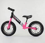 """Велобег """"CORSO"""" 88621  стальная рама, колесо 12"""" надувные колёса, чёрно- розовый, фото 2"""