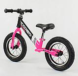 """Велобег """"CORSO"""" 88621  стальная рама, колесо 12"""" надувные колёса, чёрно- розовый, фото 3"""