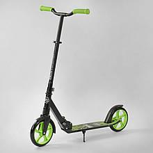 Дитячий двоколісний самокат Best Scooter 21478, амортизатор, колеса PU,чорний з зеленим