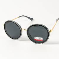 Женские солнцезащитные поляризационные круглые очки  (арт. PCB77/4) с серой оправой