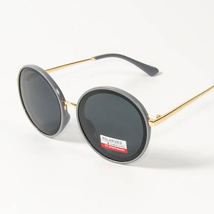 Оптом женские солнцезащитные поляризационные круглые очки  (арт. PCB77/4) с серой оправой, фото 2