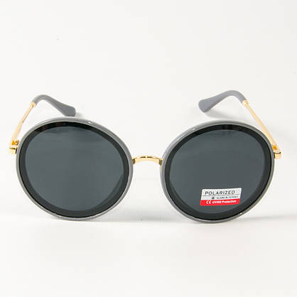 Оптом женские солнцезащитные поляризационные круглые очки  (арт. PCB77/4) с серой оправой, фото 3