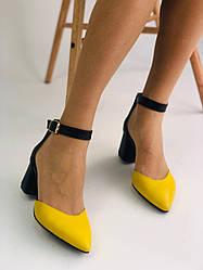 Женские кожаные босоножки на каблуке, желтые, р.36-41