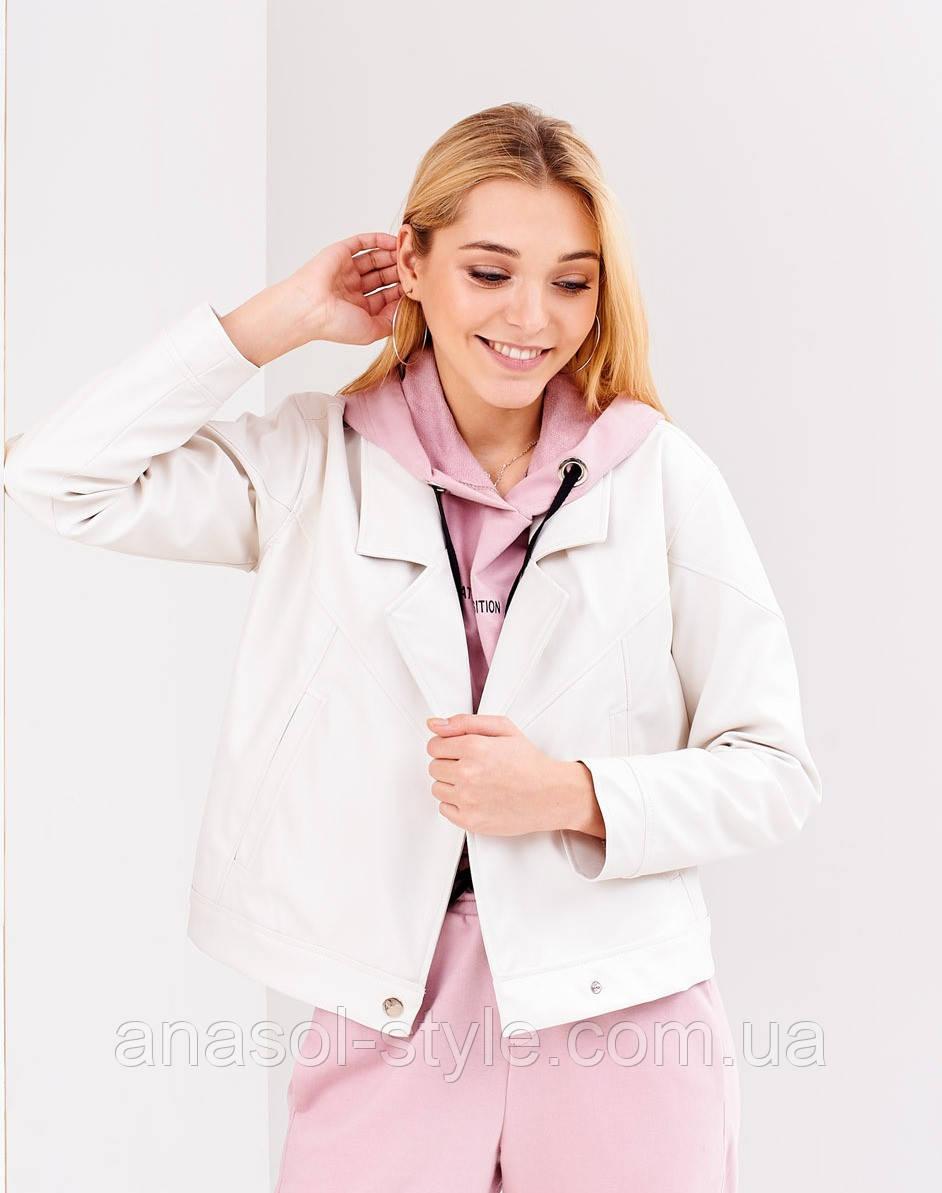 Куртка косуха из экокожи женская тренд 2020 оверсайз белая