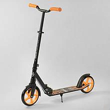 """Двоколісний дитячий самокат Best Scooter """"WOLF"""" 45077, амортизація, колеса PU, чорний з оранжевим"""