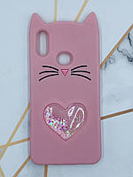 Чехол силиконовый 3D Case с переливающимися блёсткамидля  Samsung Galaxy А10s A107 Кот розовый