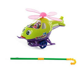 """Каталка ручная, для маленьких деток в ручку """"Вертолет"""" Зеленый"""