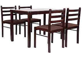 """Комплект обеденный Брауни (стол+4 стула) темный шоколад/капучино ТМ """"AMF"""""""