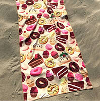 Полотенце пляжное (70 х 140 см). Полотенце пляжное пончики тортики. Розовое пляжное полотенце. Женское пляжное, фото 1