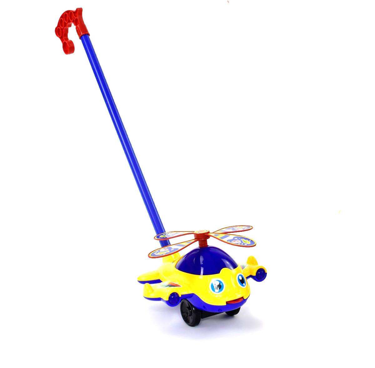 """Каталка ручная, для маленьких деток трещотка """"Вертолёт"""" (красная) Желтый"""