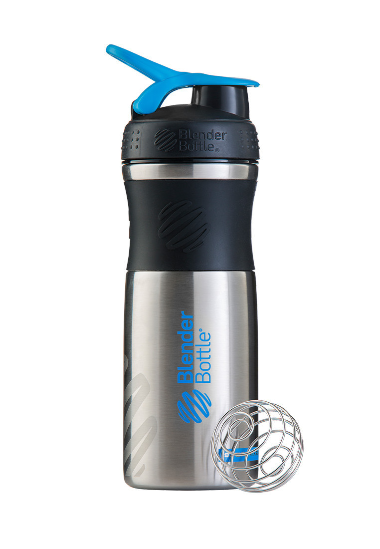 Спортивная бутылка-шейкер BlenderBottle SportMixer Stainless Steel Cyan 820мл (из нержавеющей пищевой cтали)