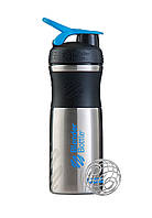 Спортивная бутылка-шейкер BlenderBottle SportMixer Stainless Steel Cyan 820мл (из нержавеющей пищевой cтали), фото 1