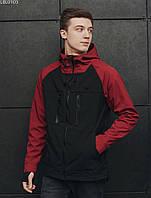 Весенняя куртка с влагозащитой черно-красная Staff soft shell black & red LBL0103