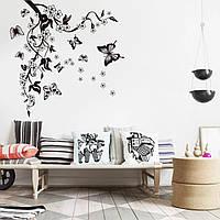 """Интерьерная виниловая наклейка на стену, холодильник, зеркало """"Бабочки на ветке"""" 90-80см.(v25364)"""