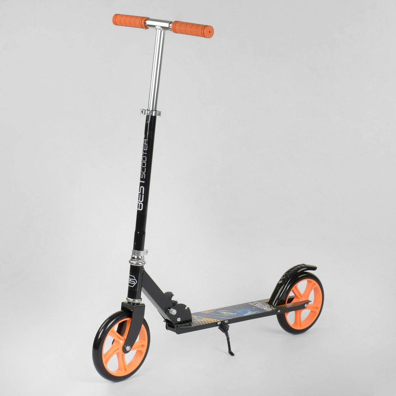 Самокат дитячий двоколісний Best Scooter 42714 Чорний з оранжевим, колеса PU, d=20см