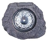 Декоративний камінь - ліхтарик на сонячній батареї пластиковий (для використання на вулиці)