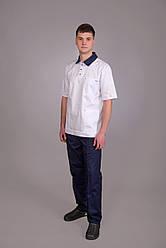 Мужской медицинский костюм хирурга Белый с синим
