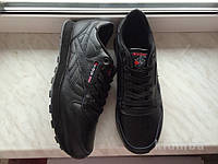 Кожаные кроссовки Reebok classic 41-46 размеры, черные кроссовки, кроссовки рибок, подошва пена, рибок класик