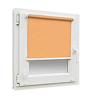 Готовые рулонные шторы Лен 2071 размер 300х1650мм (персиково-оранжевый цвет)