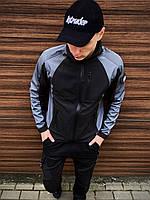 Куртка мужская SoftShell Lite х black-blue | ветровка мужская весенняя осенняя