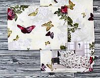 Комплект постельное белья молочного цвета с бабочками Хлопок 100%