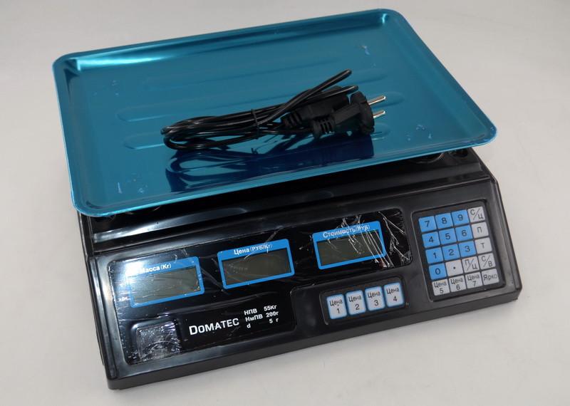 Рыночные электронные торговые весы со счетчиком цены на 50кг Domotec DT208