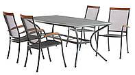 Комплект мебели для сада и дачи из метала серый (4 стула + стол 200 см)