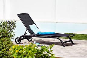 Шезлонг лежак алюминиевый с колесиками 200 см черный, фото 2