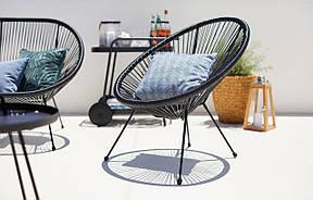 Лаунж кресло круглое садовое черное , фото 3