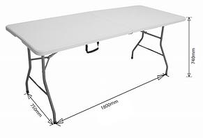Садовый большой пластиковый раскладной стол - чемодан 180 см белый, фото 3