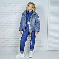 Куртка демисезонная  детская свободная с напылением на девочку подростка рост 140-176