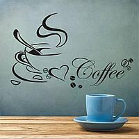 """Виниловая декоративная наклейка на стену, мебель для дома и кафе """"Coffe""""30х58см. (v465878)"""