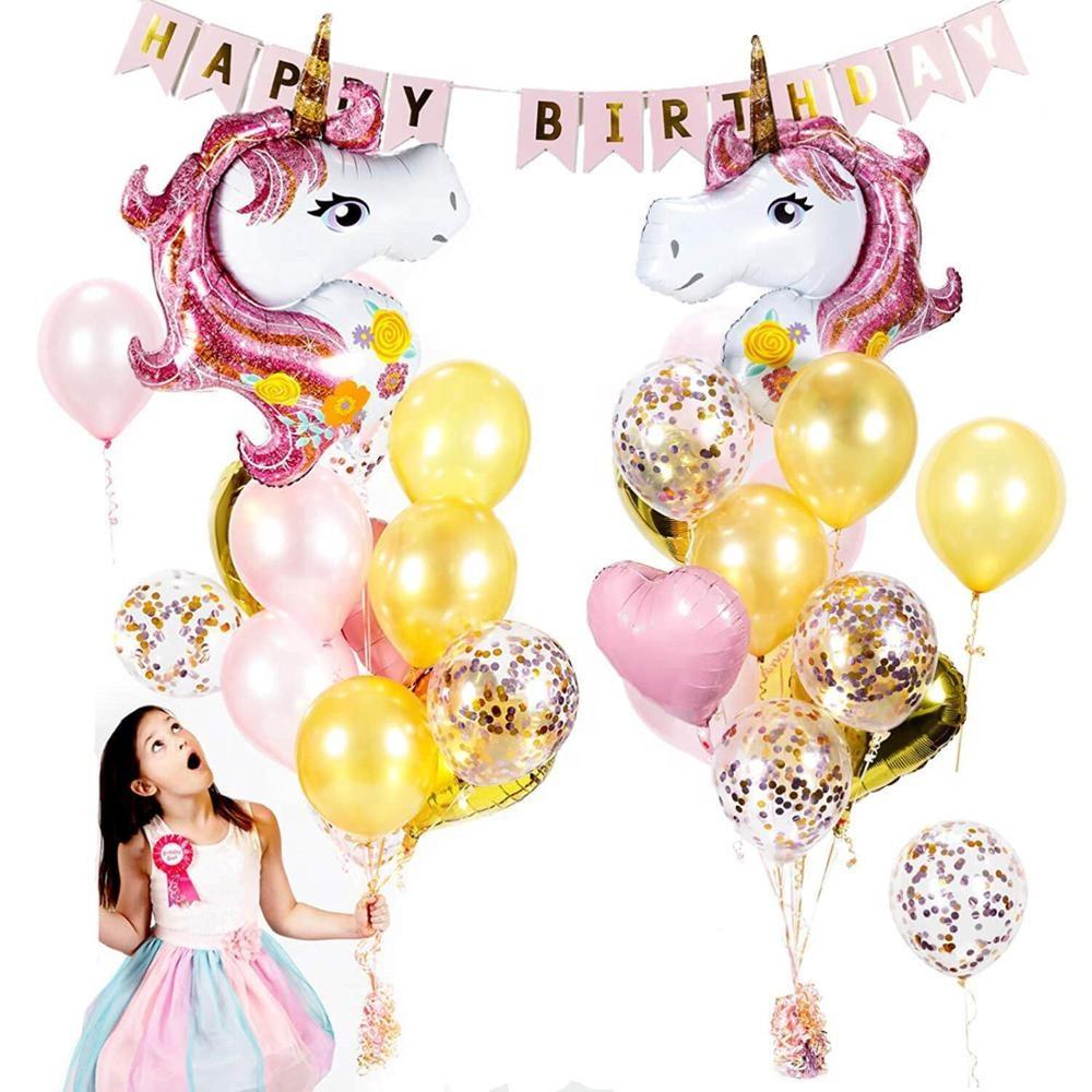 Набор на День Рождения Happy Birthday с Единорогами + Воздушные Шары + баннер для девочки