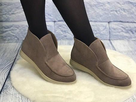 Удобные и стильные замшевые туфли лоферы женские весна лето осень кожа размеры 36-40, фото 2