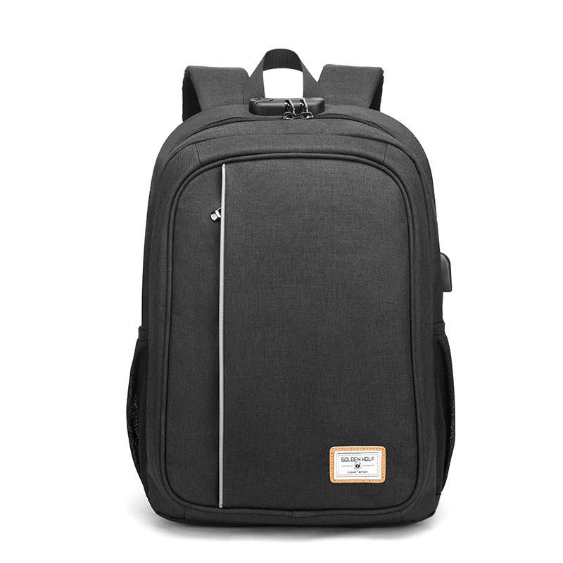 Тканевый городской рюкзак Golden Wolf GB00376 с кодовым замком, USB портом и отверстием для наушников, 20л