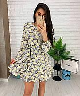 Свободное мини платье с рукавами принт перья, фото 1