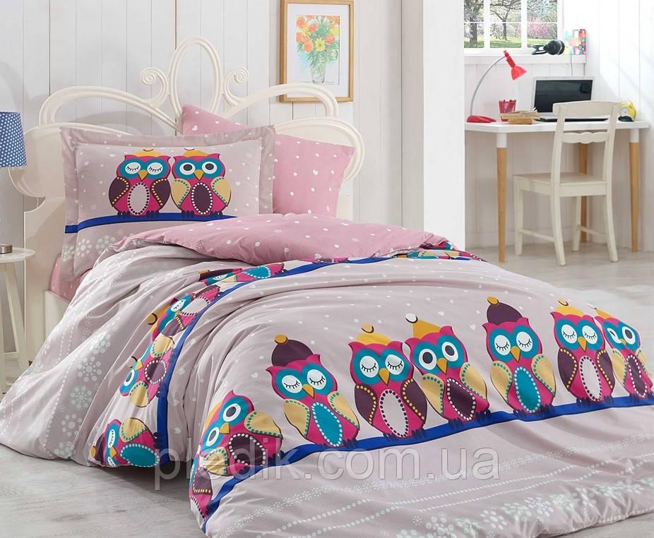 Комплект постельного белья 200х220 HOBBY Poplin Linda сиреневый с совами