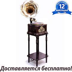Ретро музыкальный проигрыватель винила Граммофон Daklin «Paris», дерево, шоколадный орех (RP-013C) на тумбе